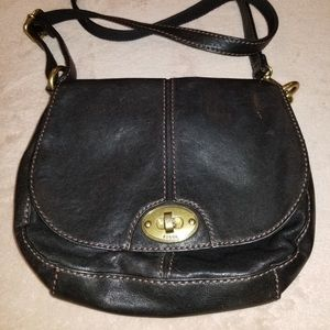 Fossil Black Leather Crossbody Bag